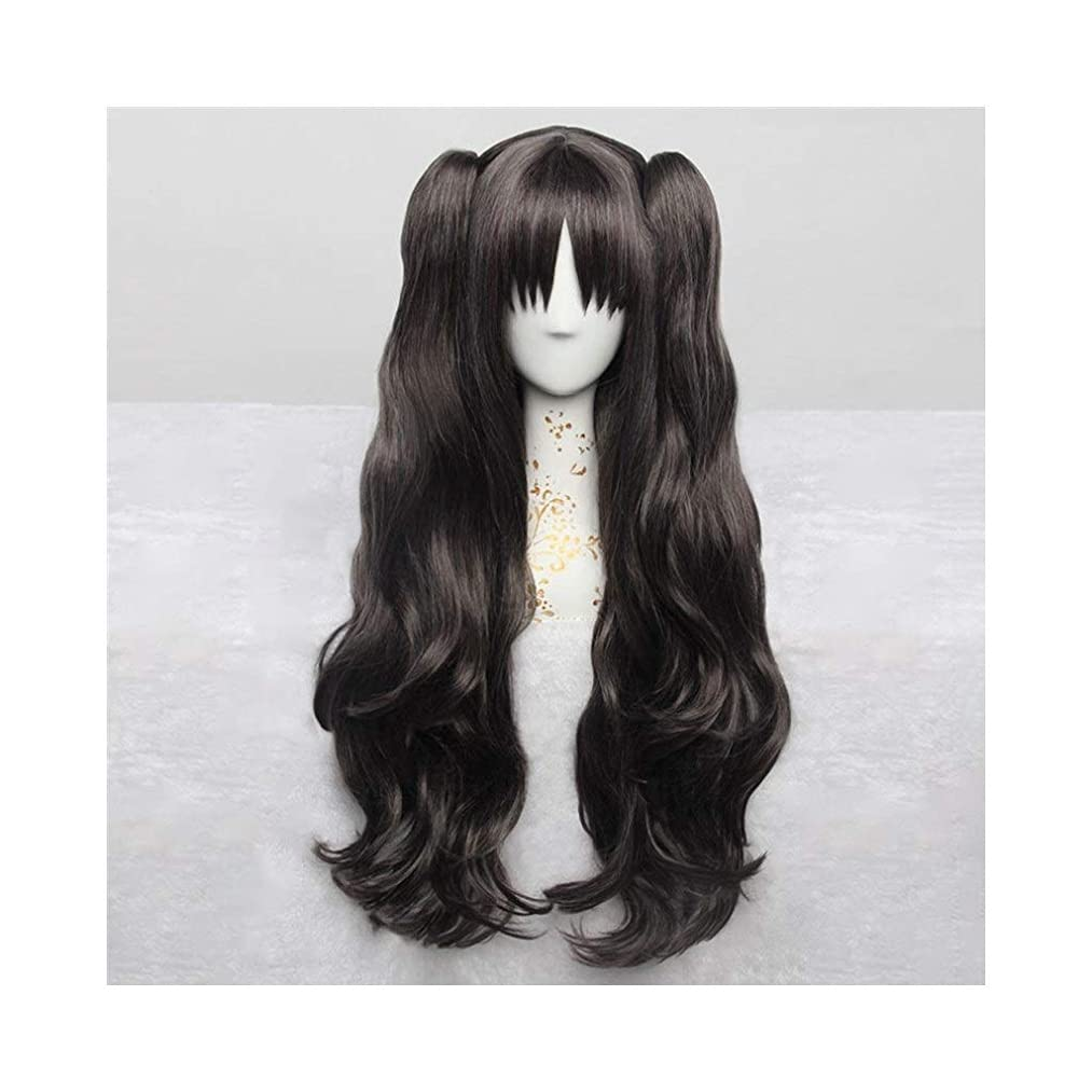 JF Anime Cosplay Rose Net Wigs 100% High-Temperature Resistant Fiber Ombre Dark Brown Long Curly Wavy Hair 32inches