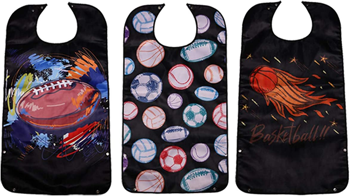 Lopton 3 Pack Adult Bibs for Eating Washable Reusable Black Clot 5 ☆ very popular Max 80% OFF