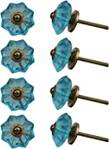Indian-Shelf Handmade Glass Melon Door Knobs Marigold Flower Cupboard Pulls Cabinet Handle(Turquoise, 1.5 Inches)-Pack of 8