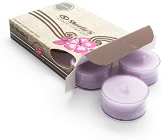 Pure English Lavender Tealight Candles - Highly Scented with Essential & Natural Oils - 6 Purple Hand Poured Tea Lights - Clear Container for Beautiful Candlelight - Flower & Floral Collection