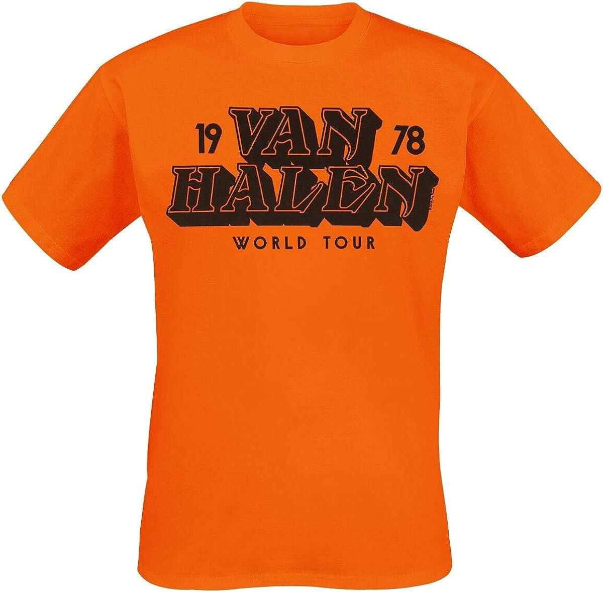Van Halen Tour 1978 Hombre Camiseta Naranja, Regular