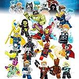 Juego de 16 Piezas de superhéroes con Accesorios, Bloques de construcción, Figuras de acción de Juguete, niños, Juego de Capas de superhéroe, Figuras de acción para niños, di