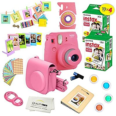 Fujifilm Instax Mini 9 Camera + Fuji INSTAX Instant Film (40 Sheets) + 14 PC Instax Accessories kit Bundle, Includes; Instax Case + Album + Frames & Stickers + Lens Filters + More (Flamingo Pink)
