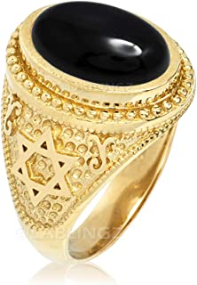 LA BLINGZ 14K Yellow Gold Star of David Black Onyx Jewish Statement Ring