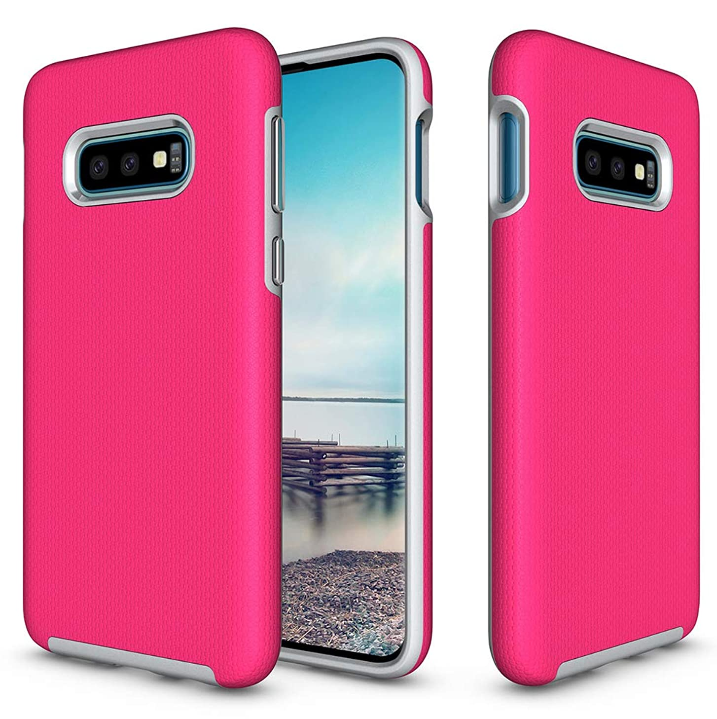 KUMTZO Compatible Galaxy S10+ Plus Case,Armor Shock Absorbing Heavy Duty TPU + PC [Dual Guard Protection] Anti-Scratch Hybrid Bumper Series Durable Cover for Samsung Galaxy S10 Plus 6.4 inch(Hot Pink)