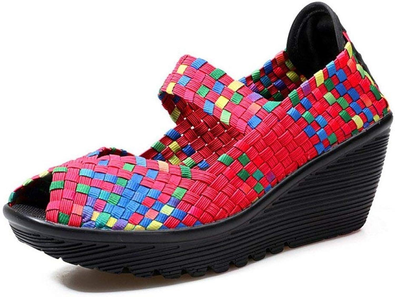 T-JULY Women Sandals Platform shoes Peep Toe Fashion Handmade Woven shoes Breathable Wedge Women Sneakers