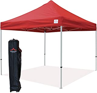 UNIQUECANOPY 10'x10' Ez Pop Up Canopy Tent Commercial Instant Shelter, with Heavy Duty Roller Bag, 10x10 FT Red