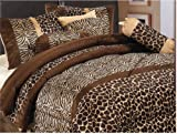 GrandLinen 7 Piece Brown King Size Safari Bed in A Bag Animal Print Zebra, Giraffe Comforter Set Microfur Bedding. Perfect for Any Bed Room or Guest Room