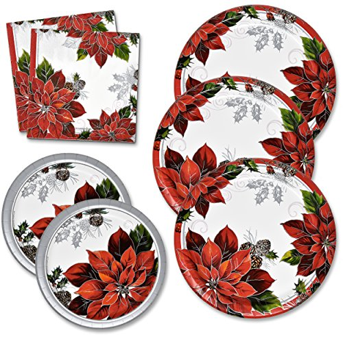 Christmas Plates and Napkins Set Serves 50 Includes 50 Paper Dinner Plates 50 Dessert Plates and 100 Luncheon Napkins for Christmas Party Holiday Disposable Dinnerware Tableware Pack Made in USA