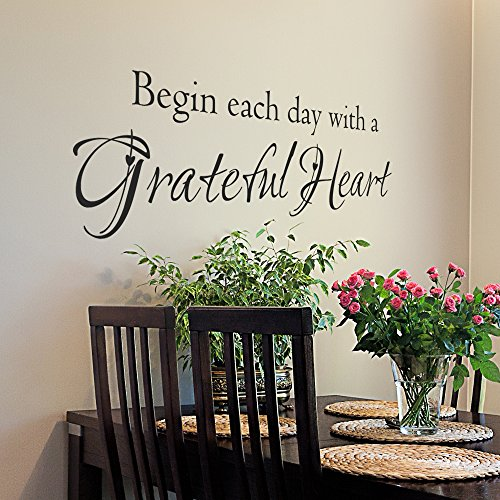 Begin Each Day with A Grateful Heart Vinyl Quote Wall Decal - Bedroom Vinyl Wall Decal - Bathroom Vinyl Wall Art Decal - Vinyl Lettering (34x10 Black)