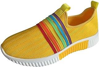 KIDsstz Hardloopschoenen voor dames, gymschoenen, fitnessschoenen, regenboogstrepen, mesh, sneakers, vrije tijd, slip on c...