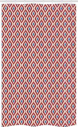ABAKUHAUS ikat Douchegordijn, Traditionele Diamond Line, voor Douchecabine Stoffen Badkamer Decoratie Set met Ophangringen, 120 x 180 cm, Rood Blauw Beige