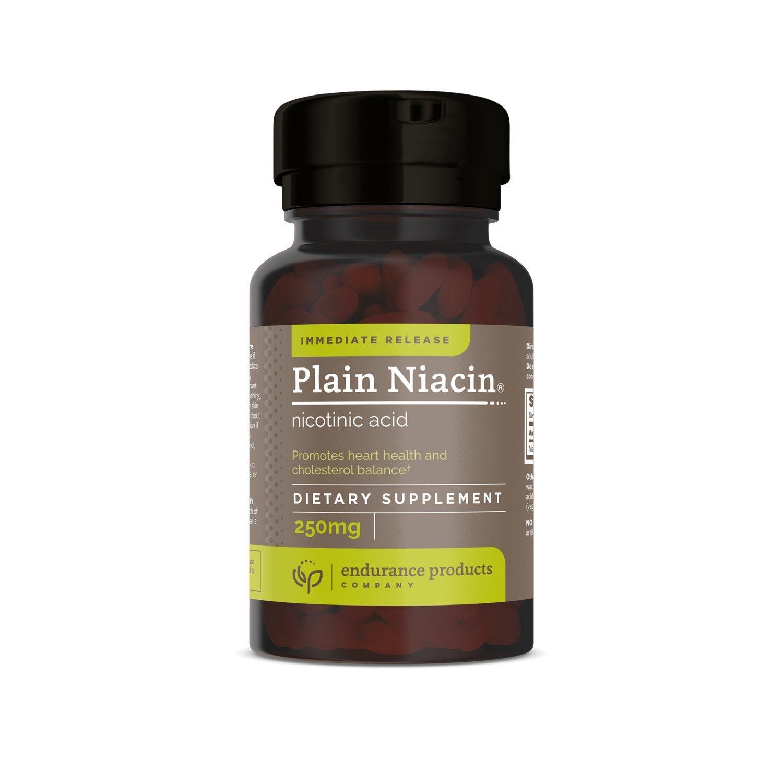 Plain Niacin - 250mg Immediate Release Niacin with Flush (Vitamin B-3) - Nicotinic Acid 100 Tablets - Non-GMO, Vegan, Gluten Free - Endurance Products Company