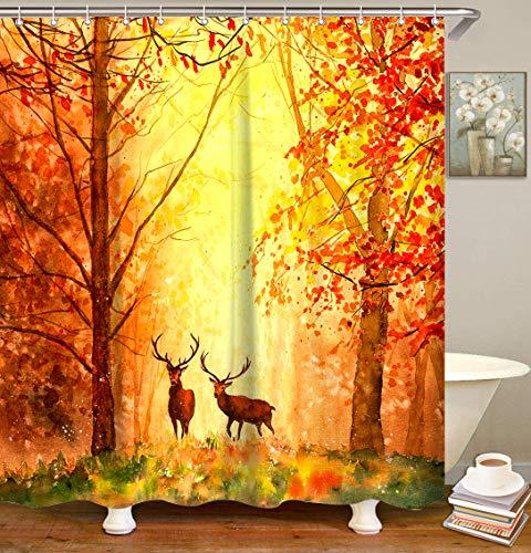 LIVILAN Duschvorhang mit Waldmotiv, Naturlandschaft, Herbst-Duschvorhang-Set mit 12 Haken, fallender Ahorn-Hirsch, Weihnachts-Duschvorhang, maschinenwaschbar, 183 x 183 cm