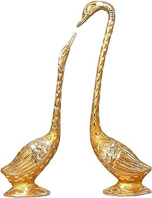 White Metal Silver Plated Pair of Swan Statue Showpiece Vastu Decorative Figurine Home Interior Decor Item Feng Shui Love Couple Table Decoration Idol - Handicraft Animal Figure Antique Gift Items ( Height - 36 CM ) - 13X0075G