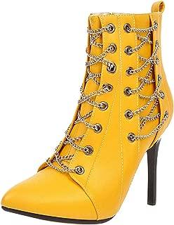 ELEEMEE Women Fashion Stiletto High Heel Ankle Boots Pointed Toe Chain Autumn Bootie Zip