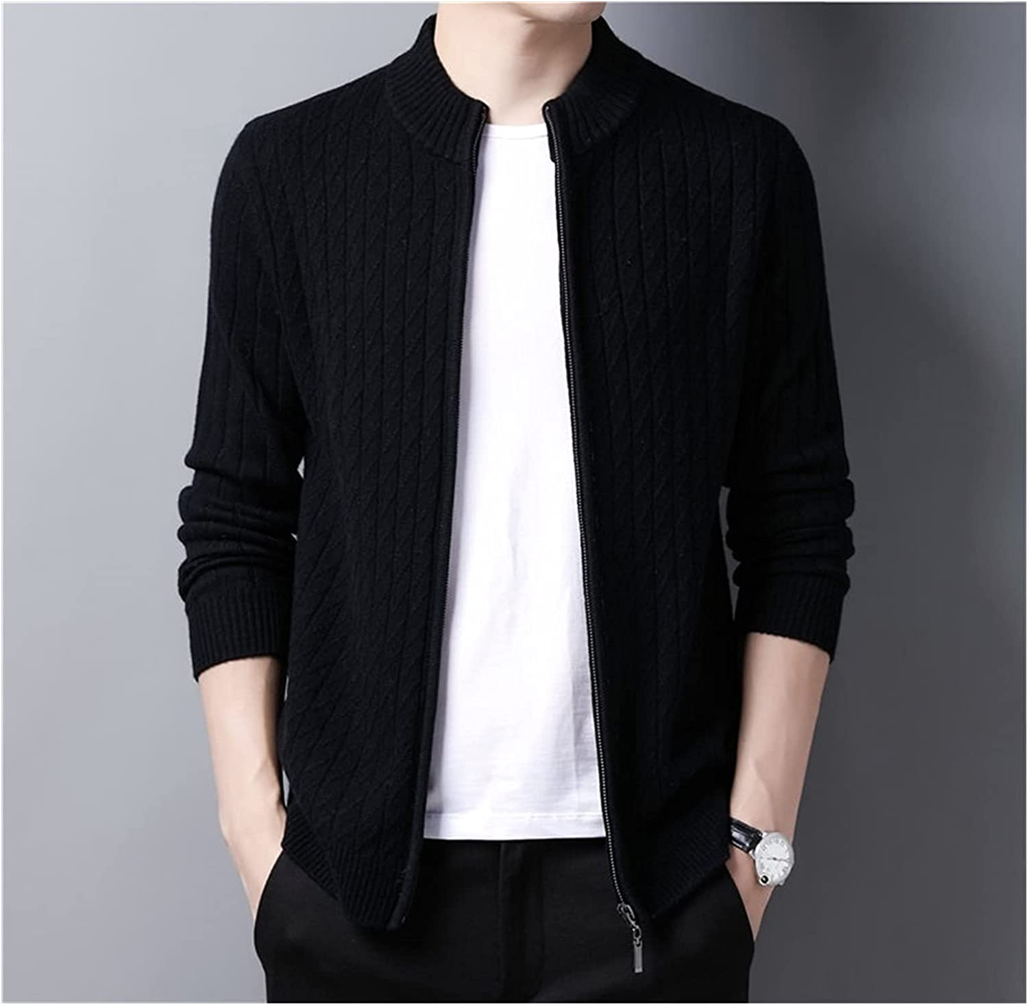 GYZX Sweater Men Wool Cardigan Men Clothing Autumn Winter Thick Warm Sweatercoat (Color : Black, Size : M Code)