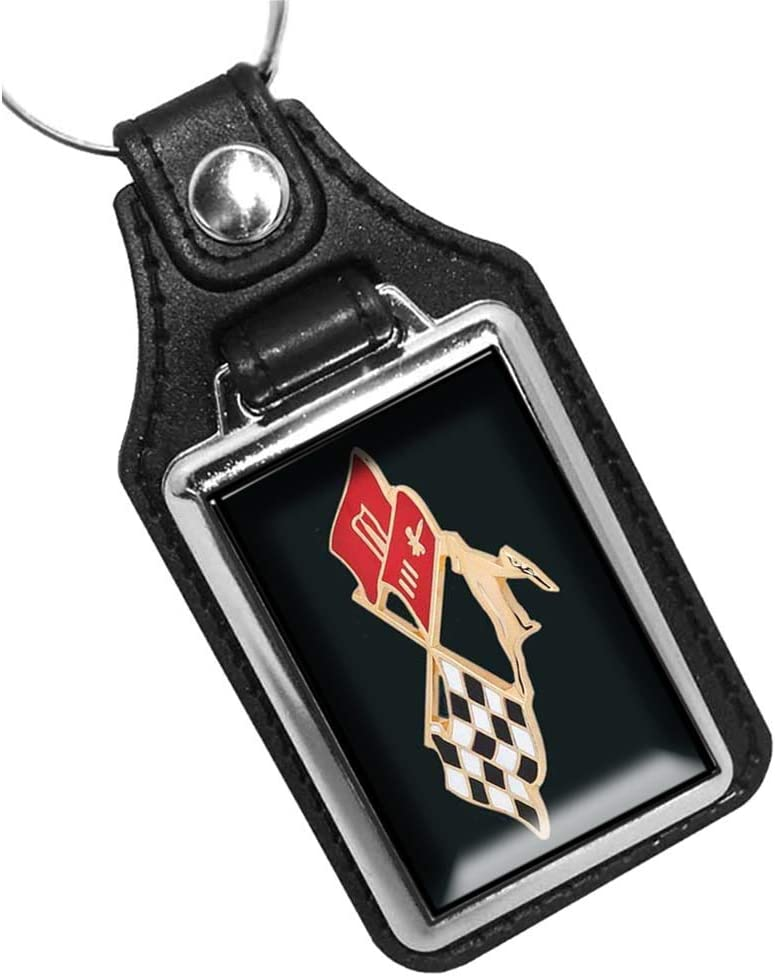 Brotherhood 1959 Compatible with Chevy Impala Gold Trim Crossed Flags Emblem Design Keychain Key Holder Key Ring for Men Heavy Duty Car Keyring for Men and Women