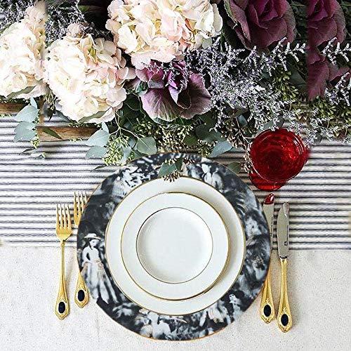 "Efavormart 12pcs Black Commercial Grade 11.5"" Porcelain Chip Resistant Plate Catering Set Dinnerware For Restaurant Home"