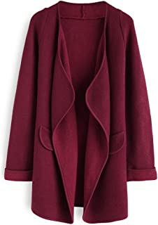 Best wine red lapel long sleeve loose knit cardigan Reviews