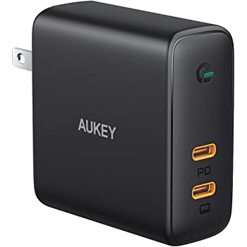 """AUKEY Focus 63W USB C Charger 60W PD Charger Power Delivery 3.0 [ GaN Power ] Fast Charger Dual Port USB C Wall Charger for MacBook Pro Air 13"""" 15"""" iPhone 11 Pro Max SE, Google Pixel 4 3 XL, Switch"""