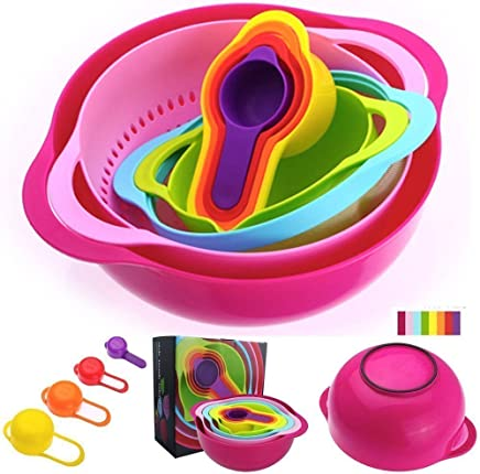 Xtore™ 10 PCS Kitchen Bowl Set Versitile Nested Mixing Bowls with Handles, Including Container, Colander, Sieve and Measuring Cups, Assorted Colors | Premium Quality