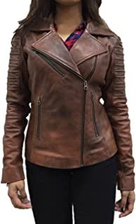 جاكيت حريمي من KYZER KRAFT من جلد الخروف الطبيعي لراكبي الدراجات النارية للنساء مجموعة - 11