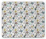 Doodle Mouse Pad, Patrón de Arte Creativo Infantil con Flores de Hadas, Caracoles y Mariposas para bebés, Mousepad de Goma Antideslizante Rectangular de tamaño estándar