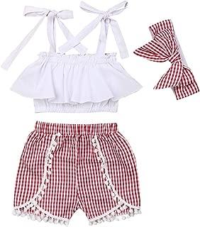 Balaflyie Toddler Girls Summer Shorts Set Halter Ruffle Top+Tassel Pineapple Pants Kids Summer Clothes Outfits