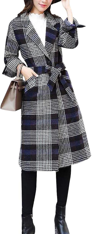 Cobama Womens Belt Design WoolBlend Open Front Premium Wrap Coat Jacket