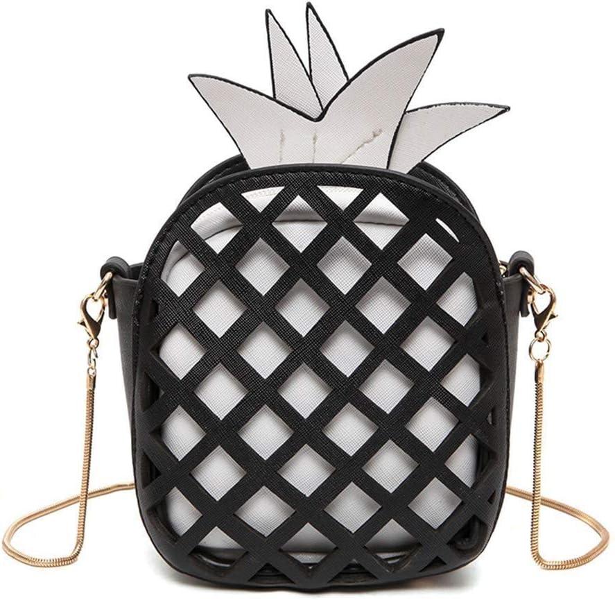 Small Crossbody Bag Cute Purse Pineapple Fruit Shape Shoulder Bag PU Leather Handbag Clutch for Womens Girls Black