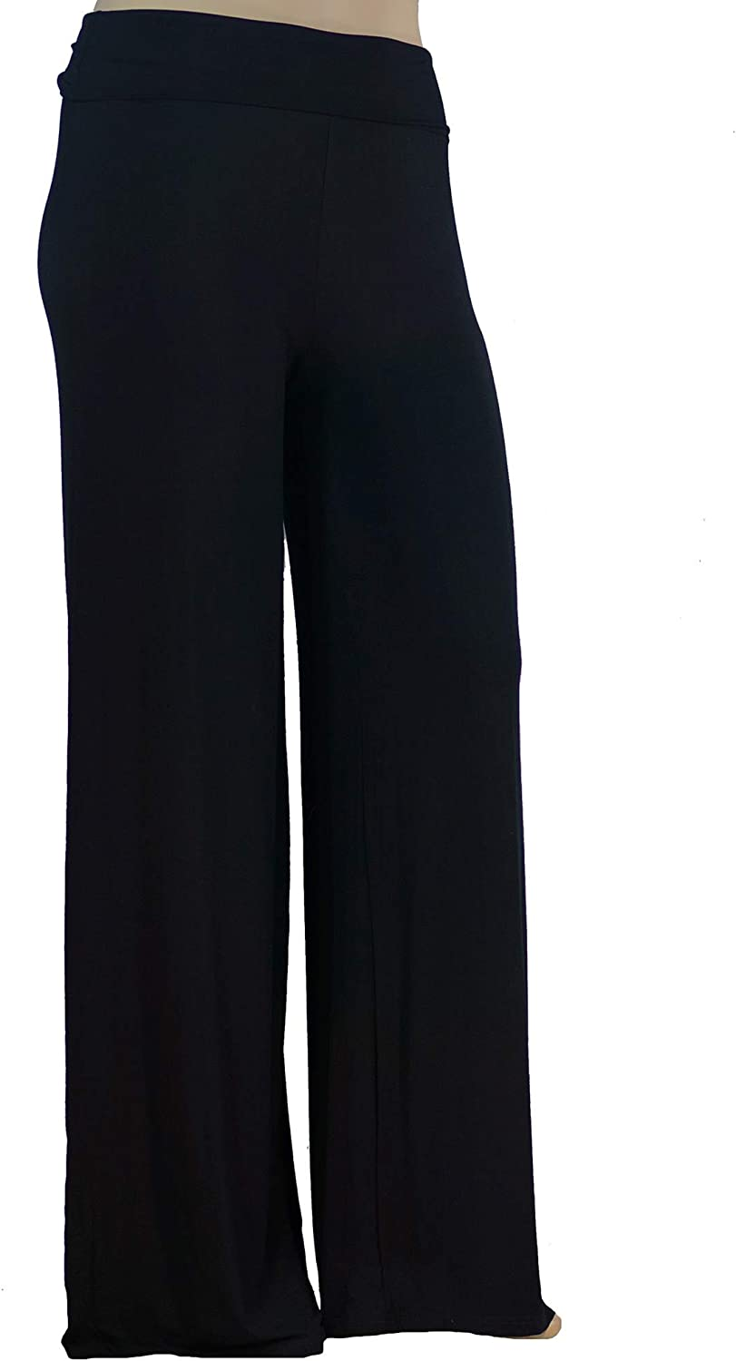 Stylzoo Women's Plus Size Premium Modal Rayon Softest Ever Palazzo Solid Stretchy Knit Pants Made in USA with Premium Fabric