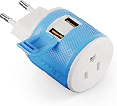OREI Universal 2 in 1 Plug Adapter Type C for Europe, Turkey and More, CE Certified - RoHS Compliant (WP-C-GN) 3 in 1-2 USB & Surge Protection Blue
