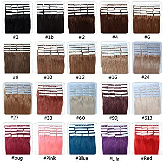 Fabwigs Tape In Human Hair Extensions - 16 18 20 22 24 Inch 20pcs 30g-70g Set - Silky Straight Skin Weft Human Remy Hair (16 Inch #6 Chestnut Brown)