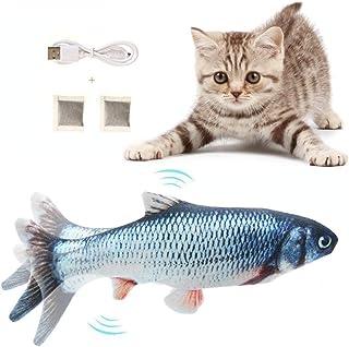 Flysee Hierba gatera Eléctrica Juguete Pez para Gato, Peluche de Juguete eléctrico de simulación Fish con Carga USB, Masco...