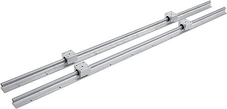 Happybuy Linear Rail 2 Set SBR12-1000mm Linear Rail Support 4 SBR12UU Rounter Bearing Linear Rail Shaft Guide for 12mm Slotted Bearings