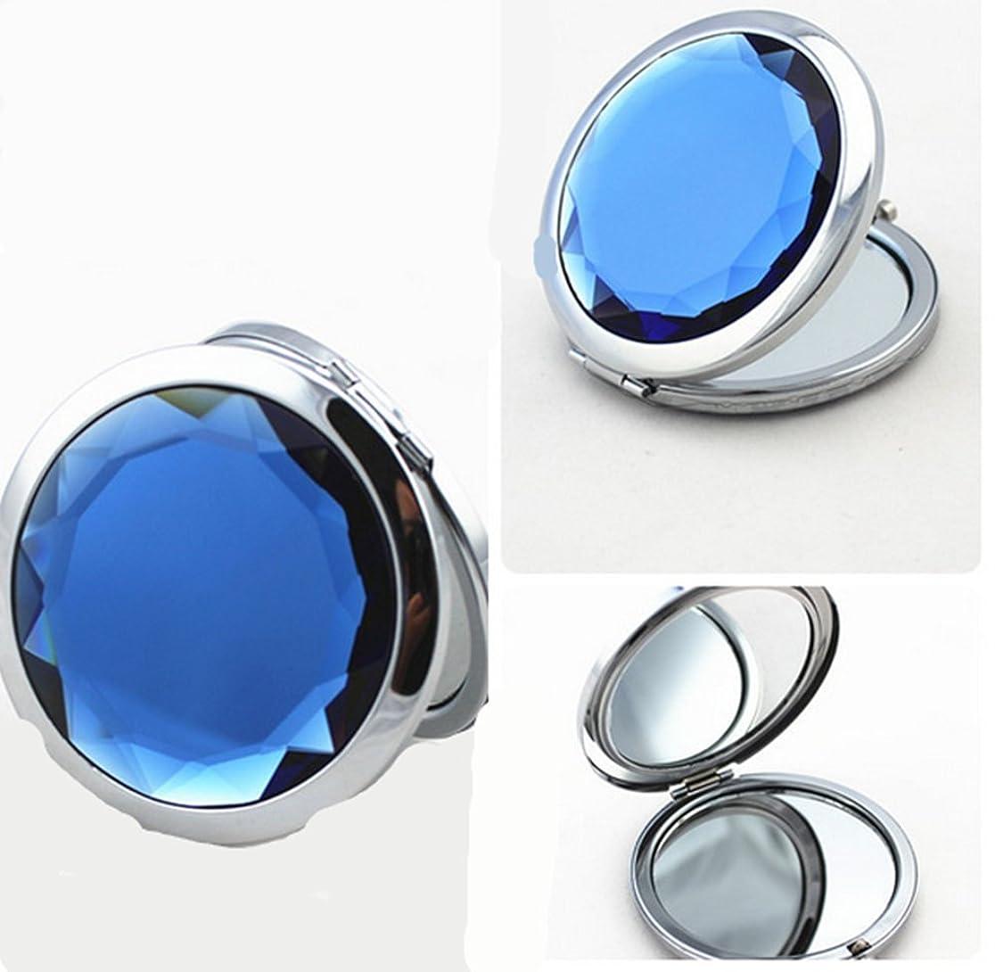 ブローホール指令インゲンSHINA 宝石飾りのコンパクトミラー クリスタル調化粧鏡拡大鏡付き 丸型の折りたたみ鏡 化粧箱入りミラー 手鏡 おしゃれの小物 (mirror-1-C)