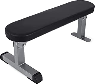 Popsport 440LBS Flat Bench Utility Flat Weight Bench Heavy Duty Weight Lifting and Ab Workout Padded Bench for Home or Commercial Gym (Adjustable Flat Bench)