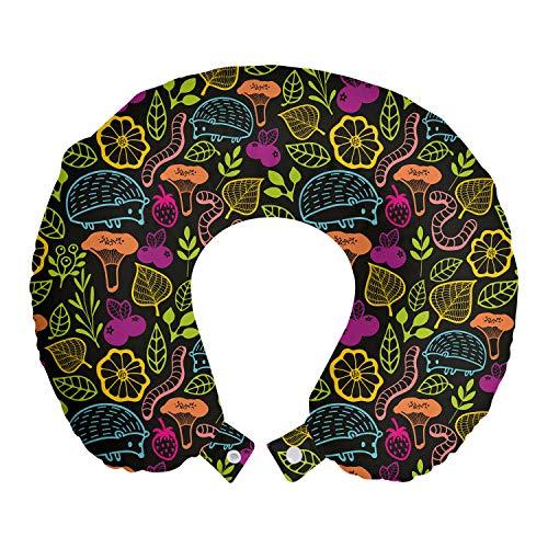 ABAKUHAUS Bosque Cojín de Viaje para Soporte de Cuello, Erizo Gusanos y Plantas, Cómoda y Práctica Funda Removible Lavable, 30x30 cm, Multicolor