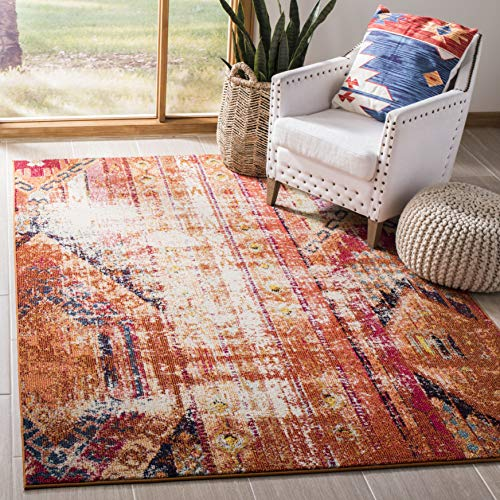 Safavieh Monaco Collection MNC222H Modern Bohemian Orange Distressed Area Rug (3' x 5')