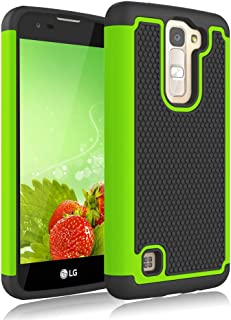 LG Treasure LTE Case, Jeylly [Shock Proof] [Green] Dual Layer Defender Protective Scratch Absorbing Hybrid Rubber Plastic Impact Defender Rugged Hard Case Cover Shield for LG Treasure LTE LG K7