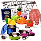 Stainless-steel Shopping Basket and Stainless Toy Kitchen Pots and Pans with Utensils - Beautiful Fish and PlayVegetables Toys - Apron - Pretend Play Grocery & Cooking For Toddlers Boys and Girls