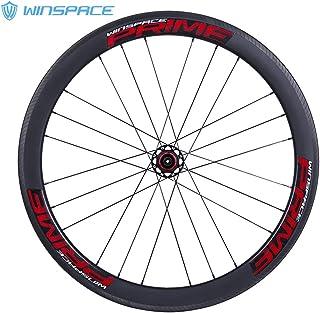 Winspace - Juego de Ruedas de Fibra de Carbono 700C para Bicicleta de Carretera, Freno de Disco de 4 rodamientos