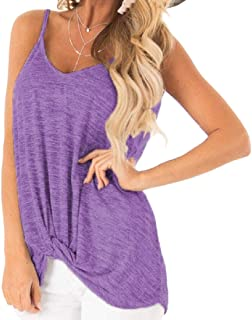 Women's Soft Casual Solid Tank Top Blouse Twist Loose V Neck Sexy Sleeveless Vest