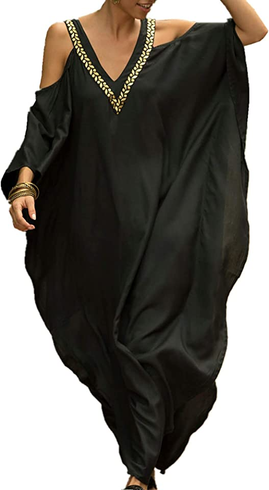 Women Oversized Maxi Kimono Kaftan V Neck Tunic Caftan Dress Beach Cover Ups Free Size