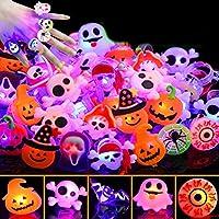 Camlinbo 50個 ハロウィンLEDグローリング ライトアップトイ 暗闇で光る 誕生日 ハロウィンパーティー記念品 子供のフラッシュフィンガー ラバーリング 8種類のゴーストパンプキン(マルチカラー)