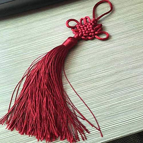 ZYHYCH 6/12 uds/lote flecos de seda con borlas de nudo chino, flequillo borla de flores, ropa decorativa para cortinas, accesorios de decoración del hogar, rojo vino, 6 uds
