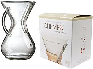 Chemex Bundle - 2 Items: Glass Handle Coffeemaker and FC-100 Pre-Folded Circle Filters (6-Cup)
