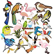 Libiline Assorted of 20pcs Embroidered Patch Birds Sew On/Iron On Patch Applique Clothes Dress Plant Hat Jeans Sewing Flowers Applique DIY Accessory (Assorted of Birds)