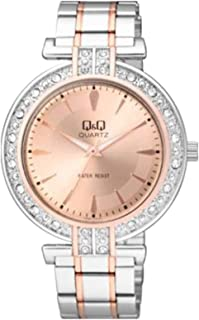 Q&Q Women's Rose Gold Dial Stainless Steel Band Watch - Q885J402Y